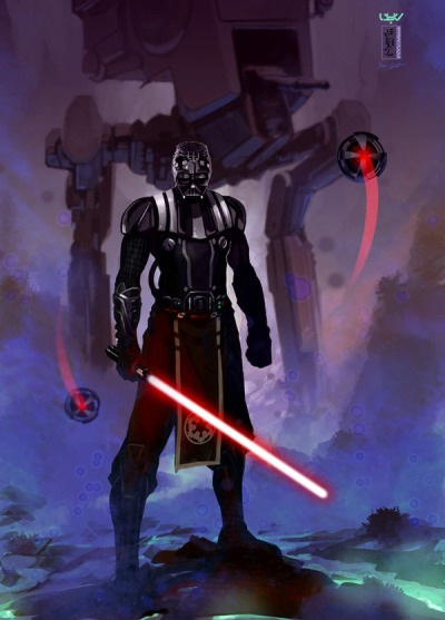 svalts:  Lord Vader gets a new look and attitude in Yvan Quinet's killer Star Wars illustration. It's crazy seeing him without the top portion of his helmet. —Recon— by Yvan Quinet / wyv1 (deviantART)  (Facebook) Via:(justinrampage || itstarwars)