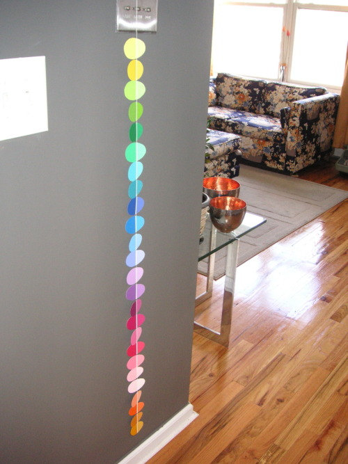I reblogged a paint chip egg garland (from Modern Parents Messy Kids) last week.  Here's a pic of how mine turned out.  I love it.