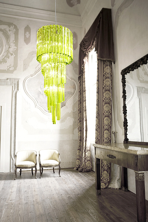 1960s style acid green chandelier, part of the Evergreen collection from Italamp.