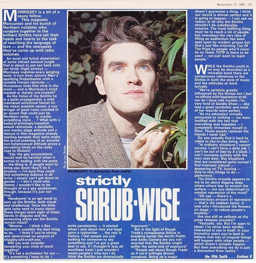 Short Morrissey interview from Record Mirror, November 1983.