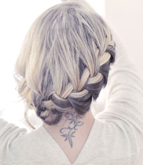 (via …love Maegan: Pretty Side French Braid low Updo Hair Tutorial Fashion Home Lifestyle Blog)
