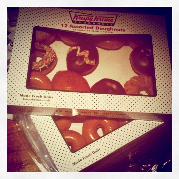 24 doughnuts from the Krispy Kreme opening. I feel sick.  (Taken with instagram)