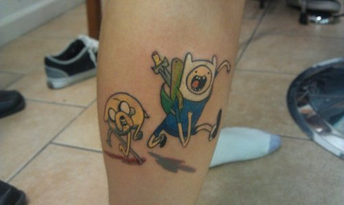 The beginning of my Adventure Time half leg sleeve tat :) Submitted by a-hxc-bro