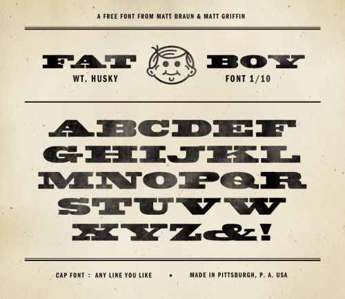 Introducing FAT BOY Husky the first of 10 fonts, free for you to download. Check out our new Kickstarter project by Matt Griffin and myself to salvage unique wood type and turn them into digital fonts.  Download it here