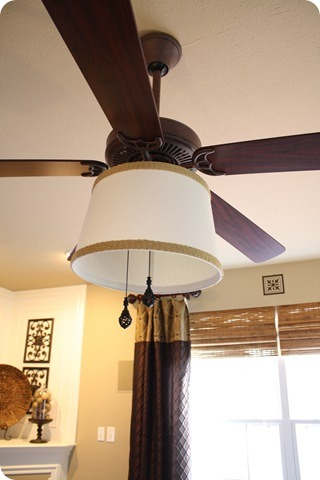 How to add a shade for the ceiling fan (easy!).  Where was this when I lived in my old house?