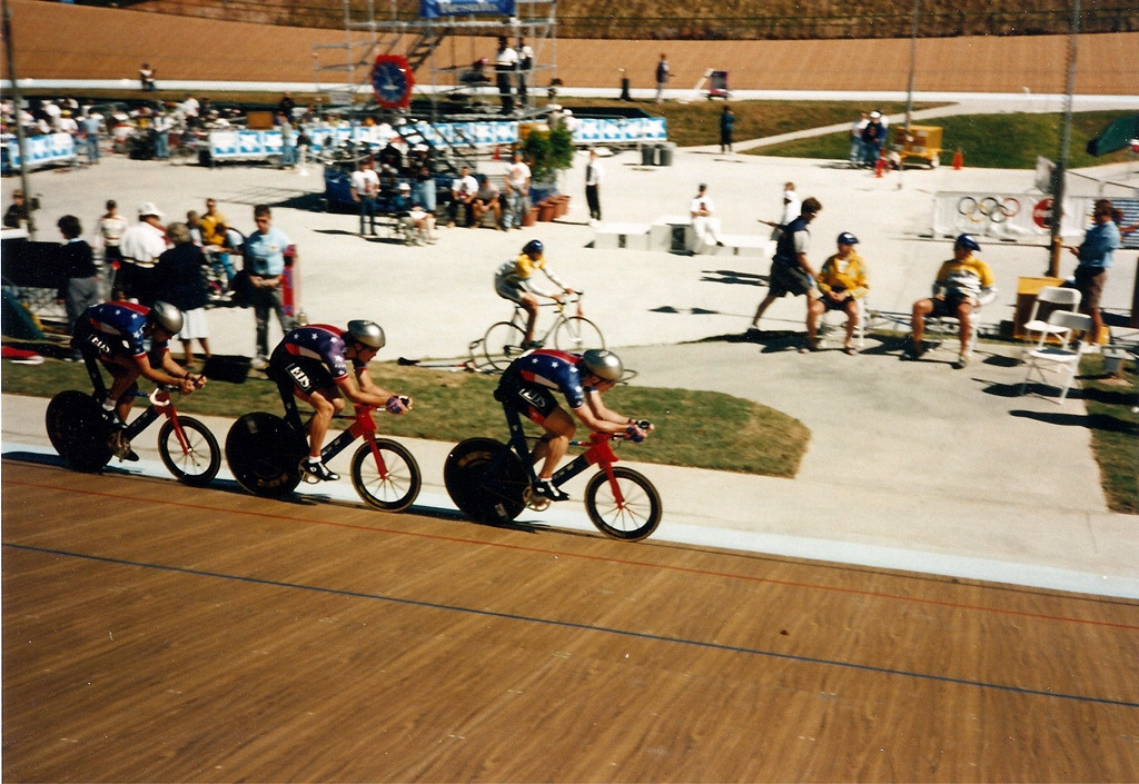 GT PURSUITERS   I'm totally loving this shot from the 1996 Olympic Velodrome at Stone Mountain Park.  Check out those GT superbikes!  Photo taken by Russell Ellington.