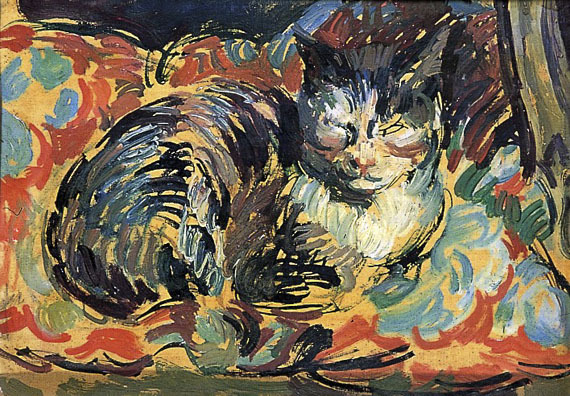 thebloomsburygroup:  Duncant Grant, The Cat, Opussyquinusque, circa 1932, oil on board  (Charleston Collection.)