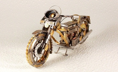 Deviant Art user dkart71 makes motorcycle and car models out of watch parts. These are really great. Check out the whole gallery here. Via Neatorama