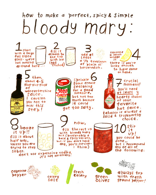 "Thought this would be a fun addition my blog of all things bloody mary. Seconding the sentiment, ""Don't use expensive vodka, it's not necessary."" Illustration by Kelly Lasserre."