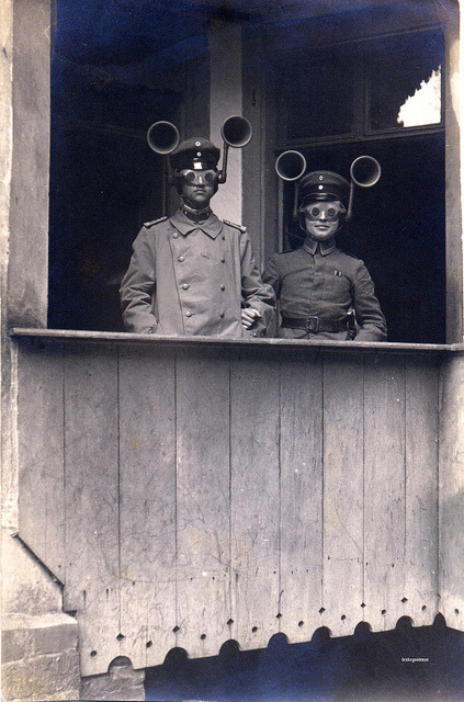photojojo:  Before night vision goggles, WWI soldiers enhanced their sight and sound with headphones and goggles! Found photo via Drake Goodman