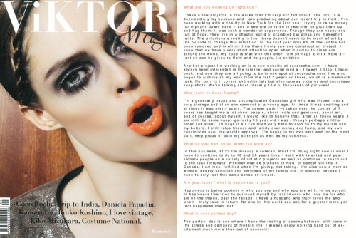 VIKTOR MAG - Issue #1.When I was in Italy two months ago for Milan Fashion Week I was asked to be the first cover girl for a brand new magazine called Viktor Mag - I'm posting the cover and interview today and tomorrow I'll post the editorial. I wish the entire team at Viktor Magazine the best on their new venture and I hope we have the chance to work together again soon!CLICK TO ENLARGE PRINT