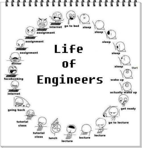 The life of an engineering student. Where ever you are, what ever you specialize in, this is the life you will get if you want to be an engineer.