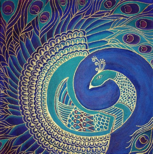 gypsyism:  Square Peacock Painting by ~cha0scat