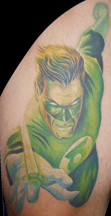 fuckyeahtattoos:  My Green Lantern Tattoo, the start of my DC Heroes Leg Sleeve done by Mark Sawyer of Pushin Ink Tattoo…Cincinnati, Ohio
