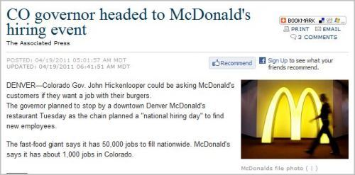 "AMERICA *IS* THE LAND OF OPPORTUNITY! Hold  on to your hats: McDonalds is having a NATIONAL HIRING DAY today in  America! Who needs labor unions and stupid shit like a ""middle-class""  now, libtard demoRATs?  We're number ONE!! … and after you get your job at McDonalds, don't forget to support Paul Ryan's Republican Teaparty ""2012 Path to Poverty / Soylent Green for Everyone"" budget. The Rapture is well underway."