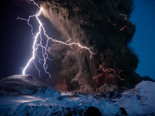"nationalgeographicmagazine:  Flash and Ash Photograph by Sigurdur Hrafn Stefnisson, National GeographicLightning pierces the erupting Eyjafjallajökull volcano's ash cloud in spring 2010. (See more pictures of lightning at Eyjafjallajökull volcano.) While exploring Thrihnukagigur's interior might not shed much light on why Eyjafjallajökull erupted so violently in 2010, the knowledge gained from the expedition could help scientists understand volcanoes in general, scientists say. ""It could help us understand the plumbing systems in volcanoes,"" Sigurdsson said, ""how the magma moves around, … the conduits that magma travels along, and what it leaves behind when it's finished."" ON TV: Into Iceland's Volcano airs Friday, April 8, at 8 p.m. ET/PT on the National Geographic Channel. Preview »"
