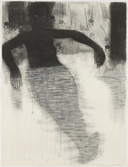 theshipthatflew:  Kerry James Marshall, Study for Blue Water, Silver Moon, 1991, Conté crayon and watercolor on paper, MOMA