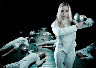 This is American fencer, Mariel Zagunis. She was the first American to win a gold medal in fencing (female or male) in over a century, when she first won Gold in Athens in 2004. She repeated with Gold again in 2008.