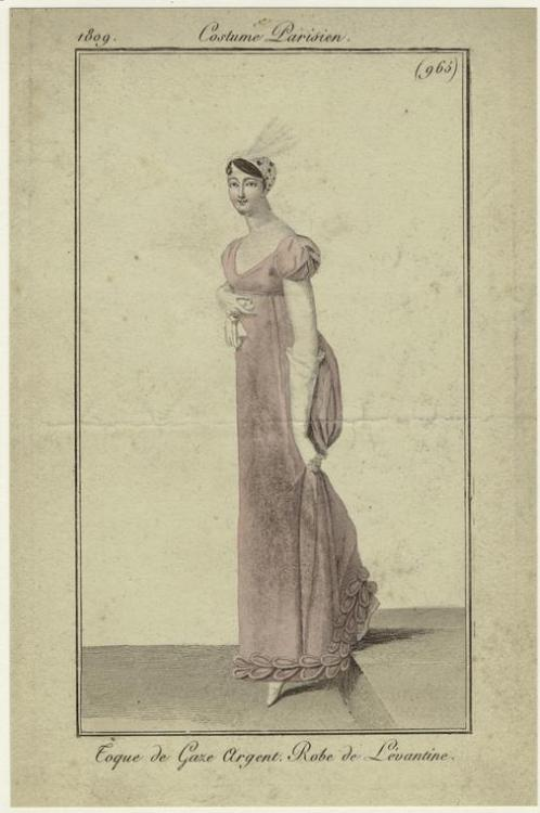 Fashion plate, 1809 France, Journal des dames et des modes