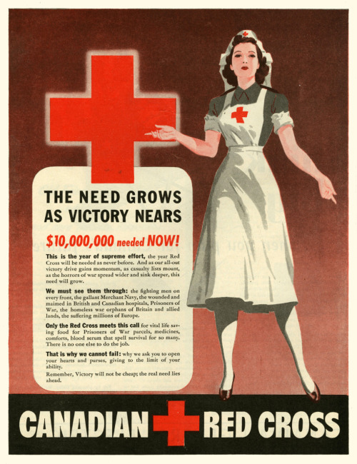 pastproducts:  1944 - Canadian Red Cross appeal. Striking design of the era.