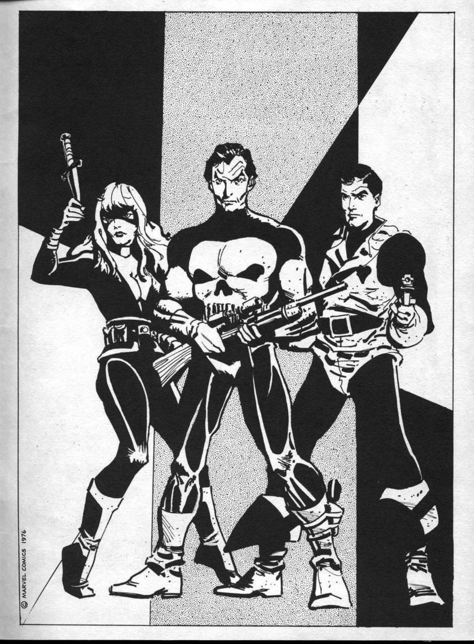 L-R: Marvel's Huntress, eventually Mockingbird; that obscure Punisher guy; and Dominic Fortune by Howard Chaykin. Via.