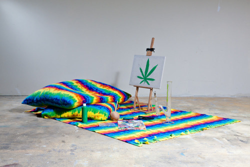 Weed Painting  Pillows, canvas, coconut 2011 photo by Ben Aqua