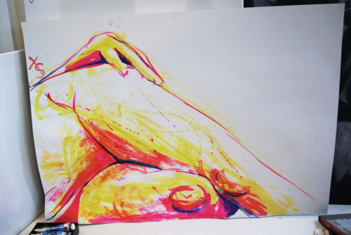Neon inked life drawing, Trying out some unusual colours, which was fun. :D