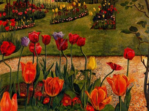 windypoplarsroom: 1936 Stanley Spencer (English 1891-1959) ~ Tulip Beds via