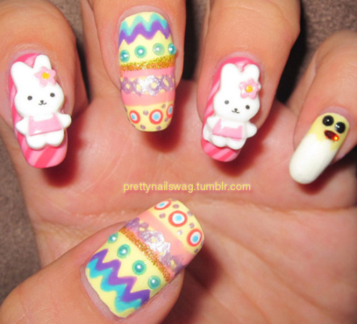 Easter Nails…ya'll know I always go in on the themed holiday nails :) I am in loooove with these plastic bunny decals, used a ton of top coat to keep them in place tho! Happy Easter to all my followers!!! Love ya'll to def!