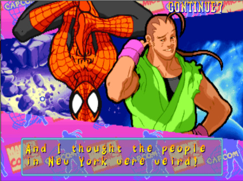 bison2winquote:  - Spiderman, Marvel Super Heroes vs Street Fighter (Capcom)