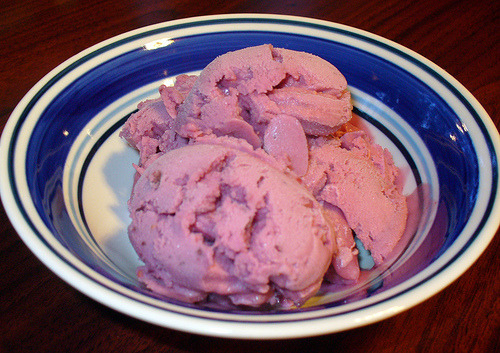 "Berry ice cream from Wheeler del Torro's The Vegan Scoop: 150 Recipes for Dairy-Free Ice Cream that Tastes Better Than the ""Real"" Thing. SO NEON AND '80S-LIKE! (But way more delish than the '80s, I swear.)"