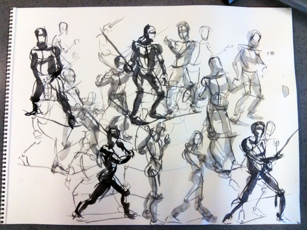 2, 3, and 5 minute gestures in india ink.