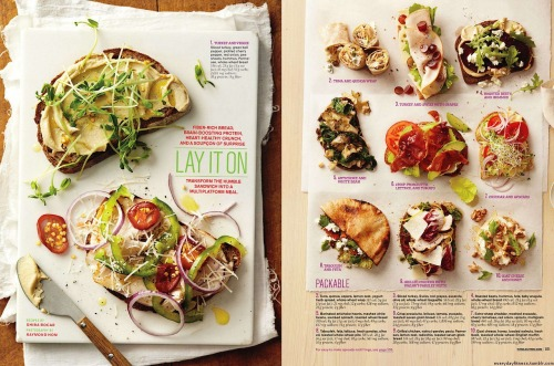 everydayfitness:  Transform the Sandwich: From Whole Living April 2011 (Great for lunches.)   Haha, thank God I saw this AFTER lunch. I'd die from hunger otherwise. ;o)