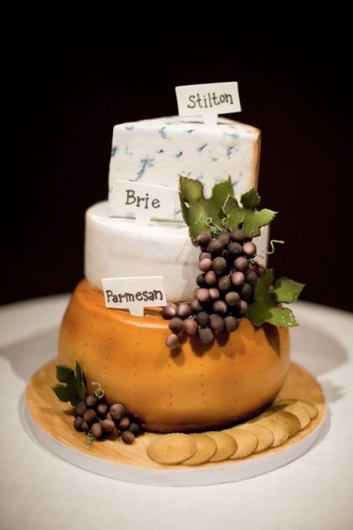 fuckyeahweddingideas:  It only looks like cheese, its not really cheese…very realistic looking!