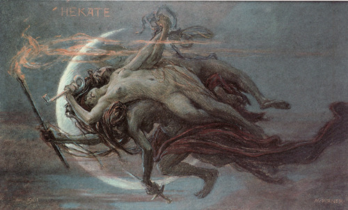 shadesandshadows:  Hecate (or Hekate), 1901, pastel by Maximilian Pirner, Czechoslovakian, 1854-1924. The three-bodied goddess in this very unusual artwork holds a key, a sword and a torch. The key may be a symbol for the afterlife; the sword a symbol for war or death and the torch a symbol of light to show the way.   Hecate is the Greek-Roman goddess of witchcraft, magic, crossroads, necromancy, wilderness and childbirth. Quite a combination for one goddess to oversee.