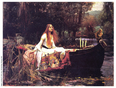 "bythegods:  superfoo:  The Lady of Shalott is a figure in Arthurian Legend. Story goes she lived in a tower doomed to live a life trapped there, and forced to view the outside world through a mirror. If she looked on the real world, she'd die. Nobody knows why as far as I know, life's just like that. In that it sucks. Of course, one day Lancelot (who, although heroic in classical Arthurian legend is actually tainted for me in the best possible way by being such a douche in Bernard Cornwell's Warlord Trilogy - READ IT) rides past the tower and the Lady is so taken aback by this dude's amazing hotness that she's like oh fuck, fuck this mirror shit i gotta look upon that piece of ass now. And she does. (WORTH IT) Anyway, because she broke the rule of being a trapped damsel in a giant phallus, her mirrors crack and it's aw fuck because she knows she's going to die. So, like a badass, she gets into a boat, fucking carves her name into the hull and sets sail down the river so that the townspeople will find her and bury her instead of her body getting all bloated and sick up in her former tower. I have a print of this hanging in my bedroom. It's special to me not only because I have a soft spot for Arthurian legend (thanks, Cornwell. Incidentally, Bernard also taught me most of Anglo/British/Scottish/Irish history), but because it pertains to psychological theoretical shit that I am constantly hard over, and sometimes jizzing everywhere about. Towers = phallic symbols, the trauma of the real, the filters we must build for ourselves so we don't go crazy, the constant psychological entrapment of everyone ever, how we free ourselves from that, meeting death being the ultimate ""real"", the Freudian Death Drive; the list goes on for years. There are several paintings of the Lady, and this one is my favourite. I've heard people say that she's so passive and sad in this one, but it is my personal belief that she's relieved. She's post-action. She's in a moment of reprieve and ready to finish what she started. She's circumvented being trapped forever, and is sailing to the ultimate reality: death. Also, I'm really unconvinced that Lancelot was actually so fucking hot she couldn't resist. Suicide. Lancelot makes a good scapegoat. Anyway, look her up. The Lady of Shalott.  This was written up by my good friend Brianna, who just so happens to have an amazing brain and fresh writing skills. Throw in that it ALSO relates to Arthurian myth, and we've got a winner! Give it a read, BTG nation!  Wow…that's by far the most interesting telling of that legend I've yet to hear :3"