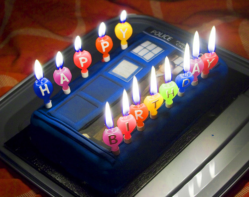 TARDIS Birthday Cake  leftish: My daughter sent me this image for my birthday today!  I'm a big Doctor Who fan. Sadly, one of my favorite DW actresses died today…. R.I.P. Sarah Jane!  I am honored.