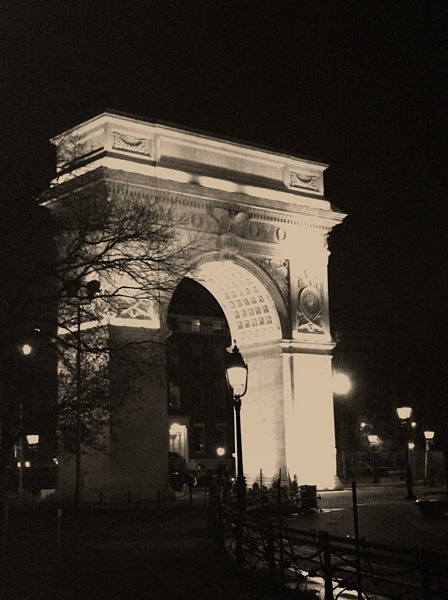 evachen212:  Washington Square Park on a blustery spring night. classic