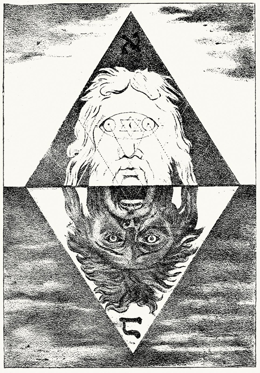 oldbookillustrations:  The magic head from the Zohar.  From Histoire de la Magie, (The History of Magic), by Éliphas Lévi (Alphonse-Louis Constant), Paris, 1922.  (Source: archive.org)