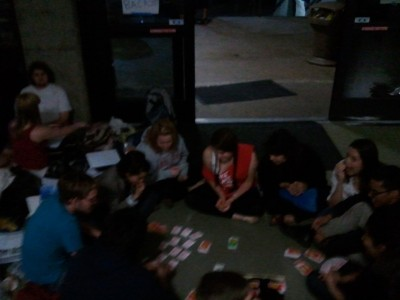 You gota have a little fun too. Some Students play cards to pass the time…