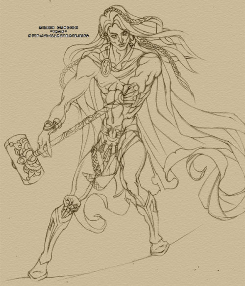 Penciling for Thor's about done now. I'm moving on to inking today. I don't have anything final for the background yet but I'm putting together an idea in my head. So, what do you think about Thor's costume & weapon?