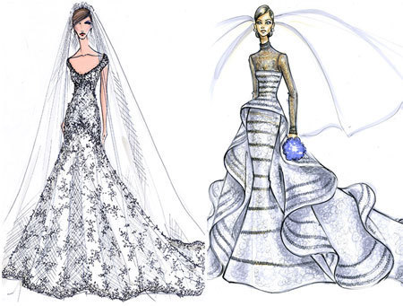 What will Kate Middleton's wedding dress look like?? These are some beautiful illustrations!