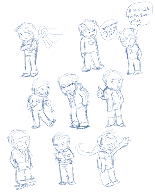 A bunch of stupid sketches. Revisiting an old, old style. What isn't Homestuck-related is an original character of mine.
