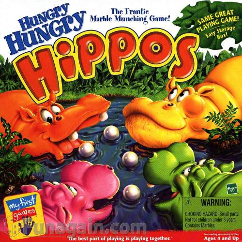 Happy 4/20.  Hungry Hungry Hippos…The Pot Smokers game. 4 Hippos / 20 White Marbles… oh, and they have the munchies. Coincidence? I'm not making it up. http://en.wikipedia.org/wiki/Hungry_Hungry_Hippos