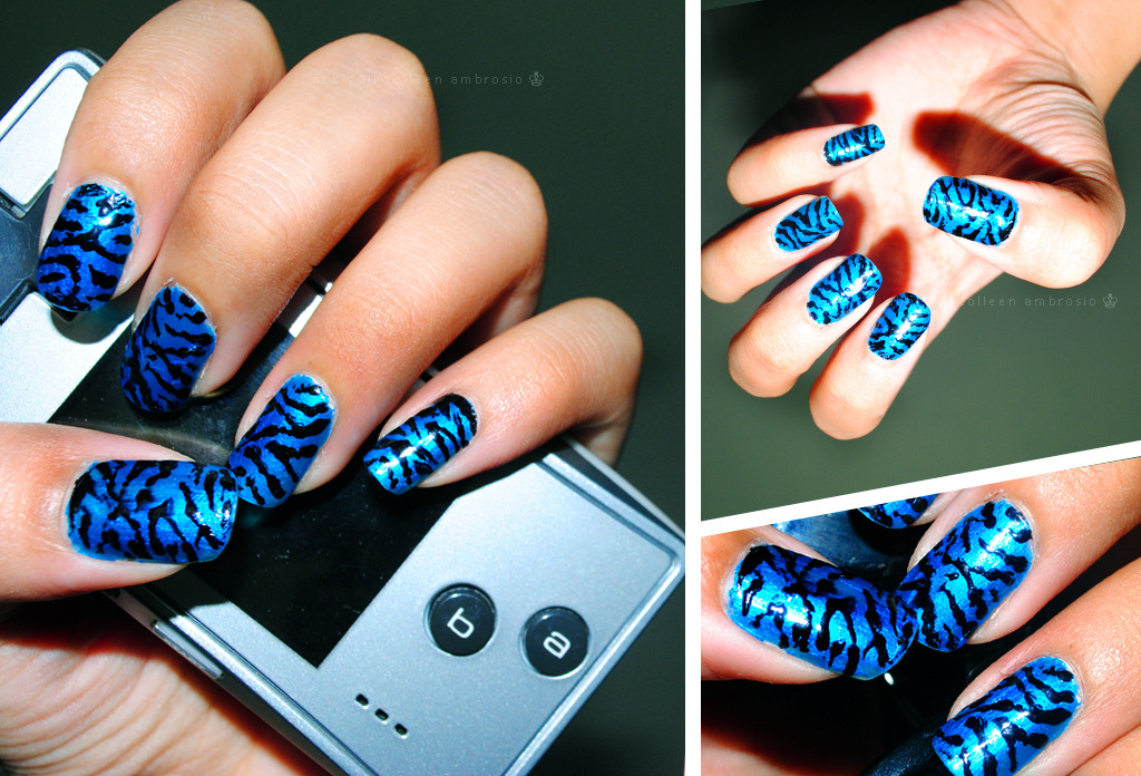 Electric Blue Zebra Nail art.