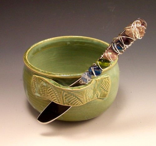 (via Pottery Dip Cup with Jeweled Spreader in by AnneMariesPottery)