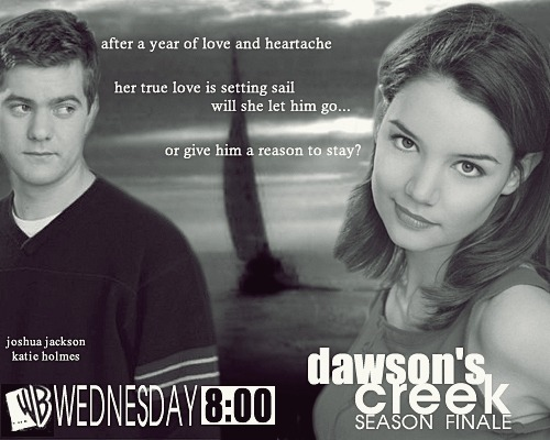 "fyeahdawsonscreek:  - print ad from tv guide for the episode 3.23 ""true love.""  ""Her true love is setting sail…"" A+ to this copywriter for the double meaning. But why is the font so bad? I won't even discuss whatever's going on with Joey's hair and neck angle."