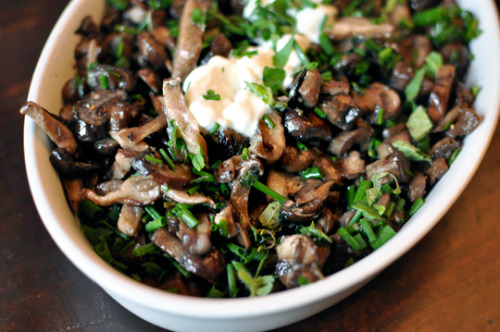 lovelylovelyfood:  Roasted Cremini and Shiitake Mushrooms with Herbs and Sour Cream Garnish