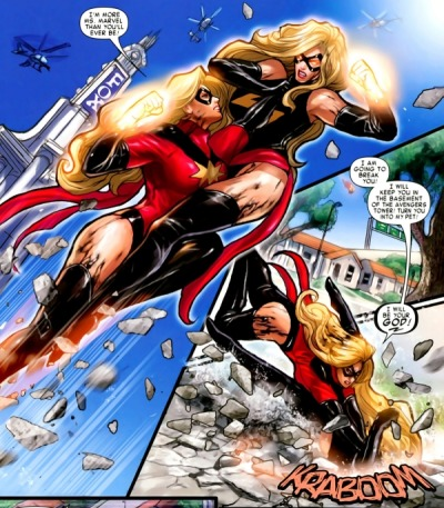 pepperprints:   I'm more Ms. Marvel than you'll ever be! I am going to break you! I will keep you in the basement of the Avengers Tower! Turn you into my pet! I will be your GOD!  Oh.  I love days when I find a cool new tumblr to follow! :)