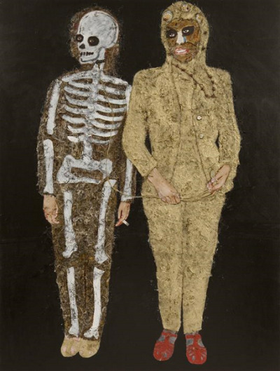 Couple, mixed media on canvas 2006 by Rik Meijers (via)